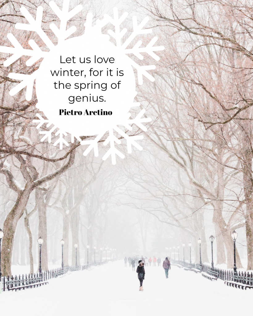 Let us love winter, for it is the spring of genius. Pietro Aretino Instagram Post Template