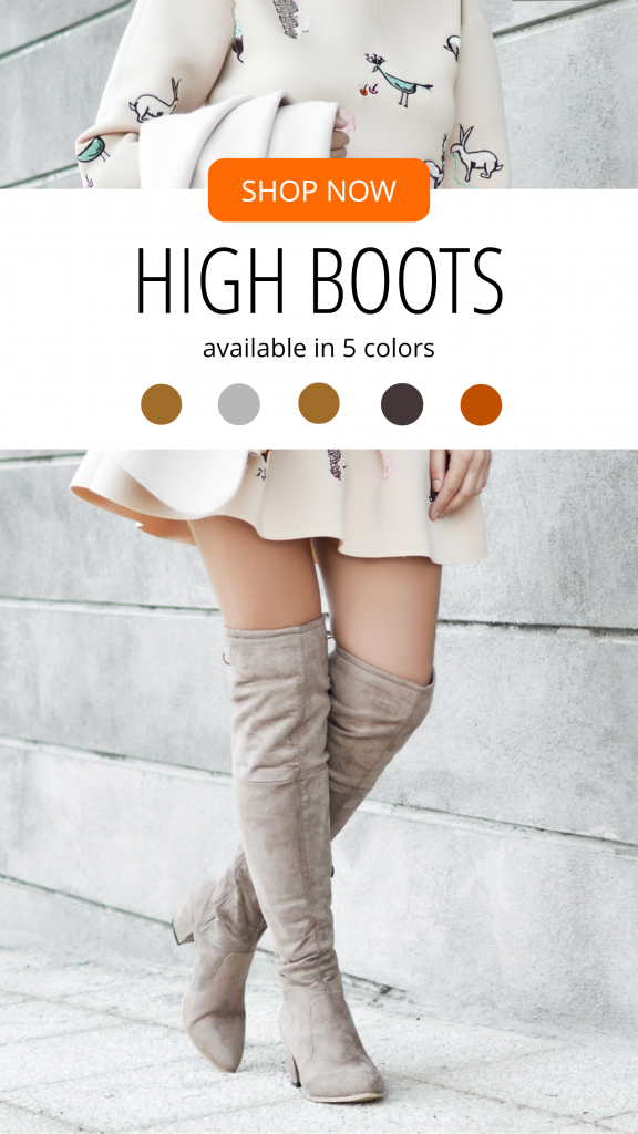 SHOP NOW HIGH BOOTS available in 5 colors Instagram Story Template