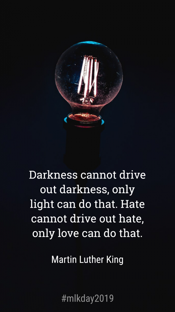 Darkness cannot drive out darkness, only light can do that. Hate cannot drive out hate, only love can do that. Martin Luther King #mlkday2019 Instagram Story Template