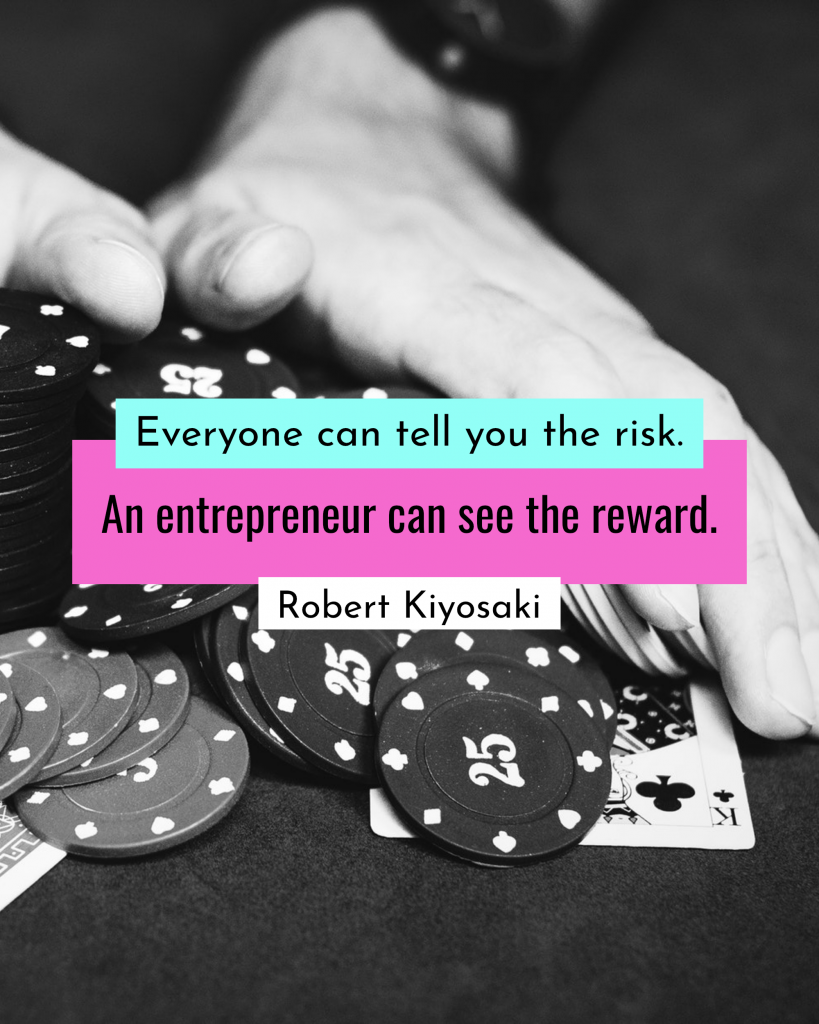 Everyone can tell you the risk. An entrepreneur can see the reward. Robert Kiyosaki Instagram Post Template