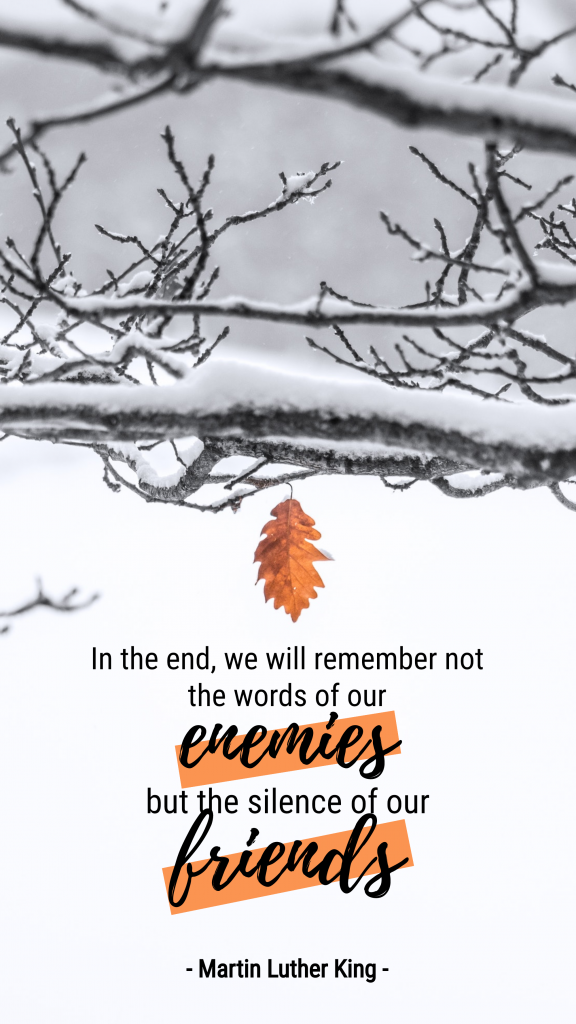 In the end, we will remember not the words of our enemies but the silence of our friends - Martin Luther King - Instagram Story Template