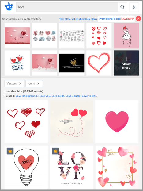 "Freepik: ""love"" search. Find symbols and emojis in PostMuse as well."