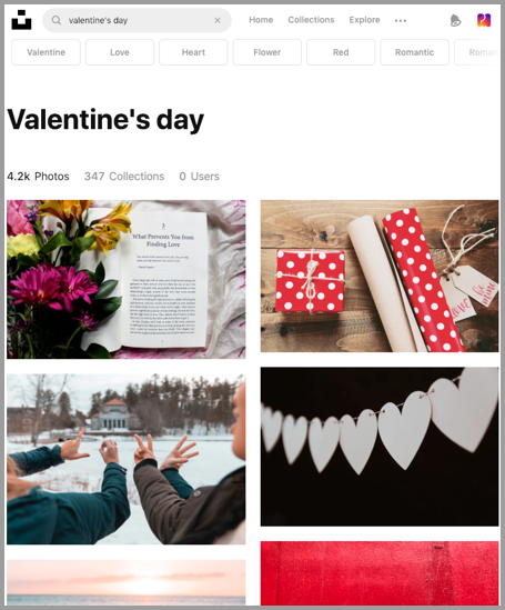 Unsplash: Valentine's Day Search. Images available in PostMuse as well.