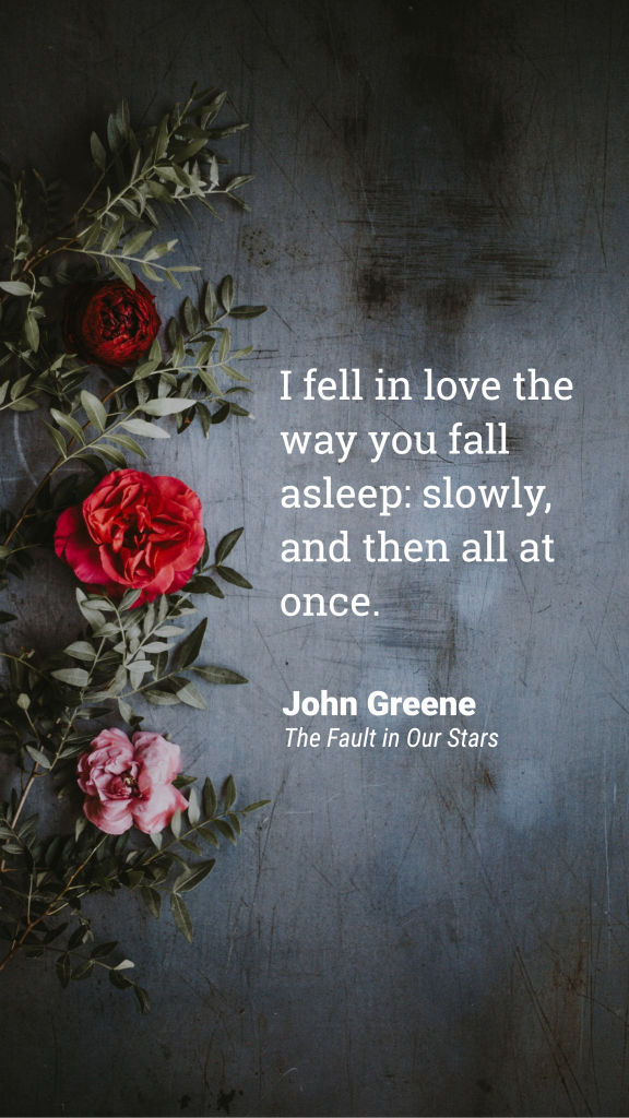 Quote Story collection - I fell in love the way you fall asleep: slowly, and then all at once. John Greene The Fault in Our Stars Instagram Story Template