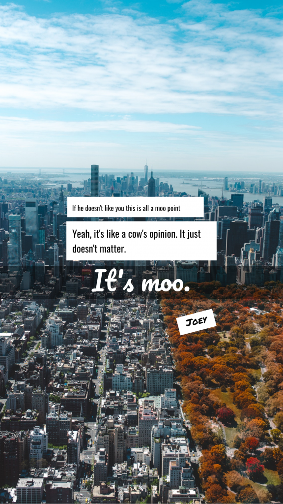 Quote Story collection - If he doesn't like you this is all a moo point Yeah, it's like a cow's opinion. It just doesn't matter. It's moo. Joey Instagram Story Template