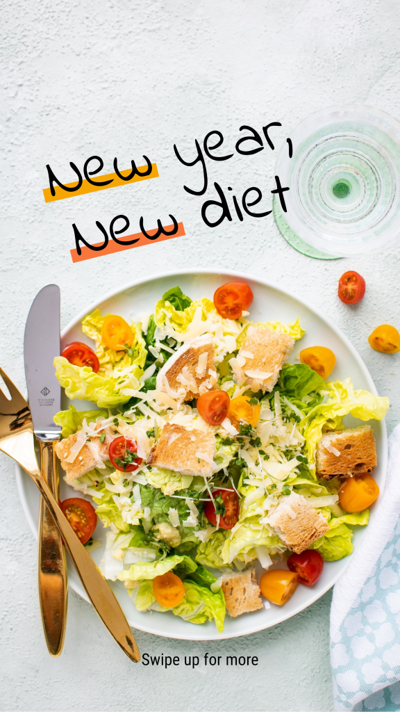 Food Story collection - New year, New diet Swipe up for more Instagram Story Template