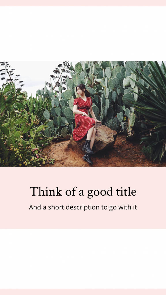 Peach: Think of a good title And a short description to go with it Instagram Story Template